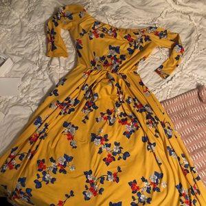 Mid Length Off the Shoulder Floral Dress